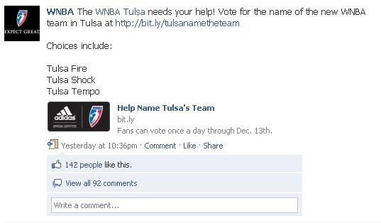 WNBA uses crowdsourcing to pick next team name for Tulsa, via facebook.com/wnba