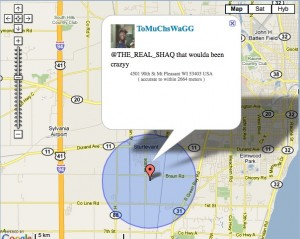 Shaq Tweets at fan using Twitter's new Geotagging. Photo credit: http://myloc.me/show.php?id=1kwf0